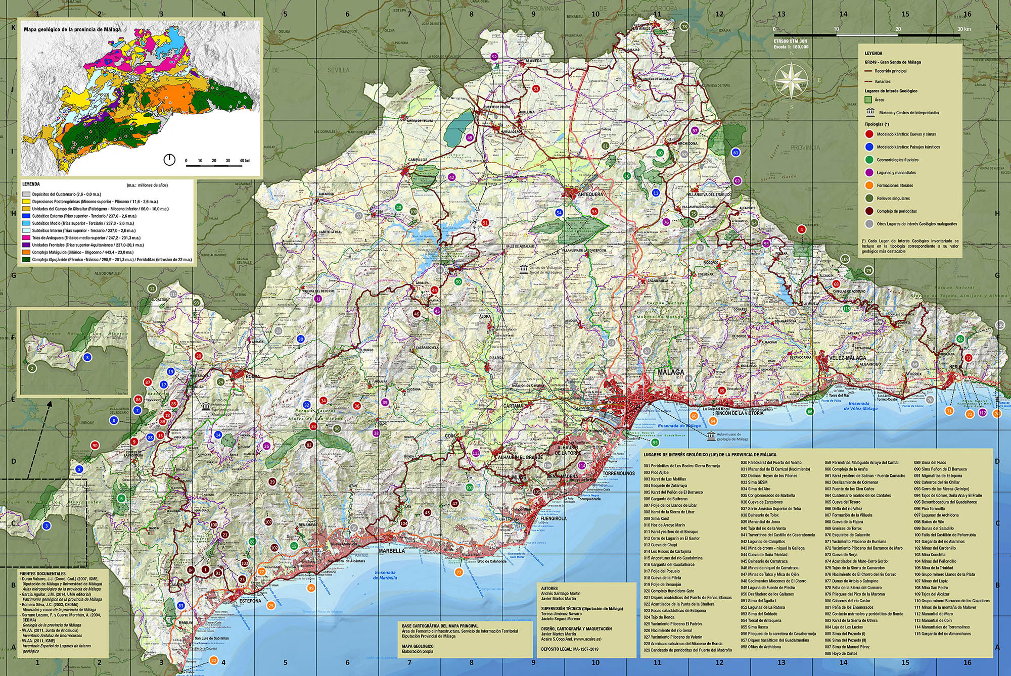 Mapa de Lugares de Interés Geológico de la provincia de Málaga