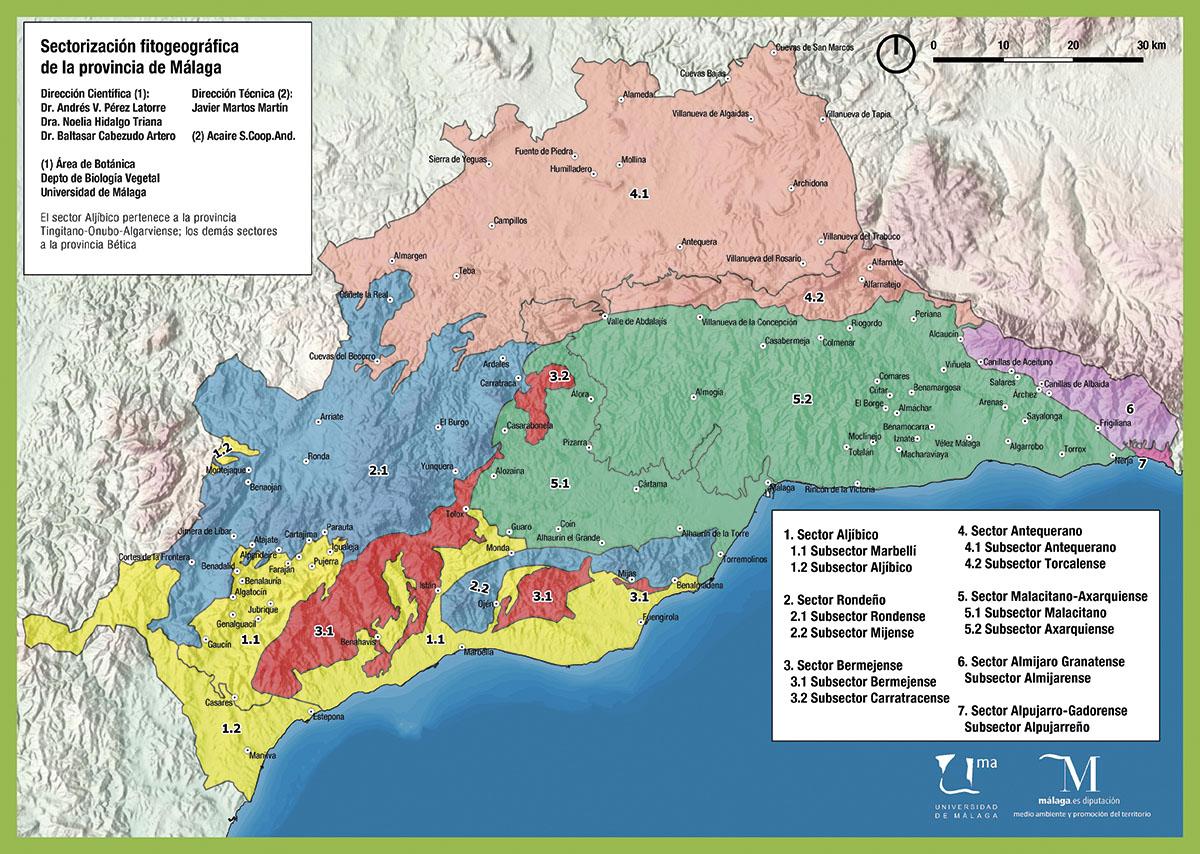 Mapa de sectores biogeográficos de la provincia de Málaga