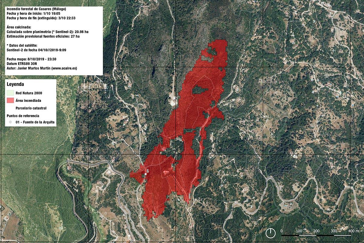 Incendio forestal en Casares - 1/10/19