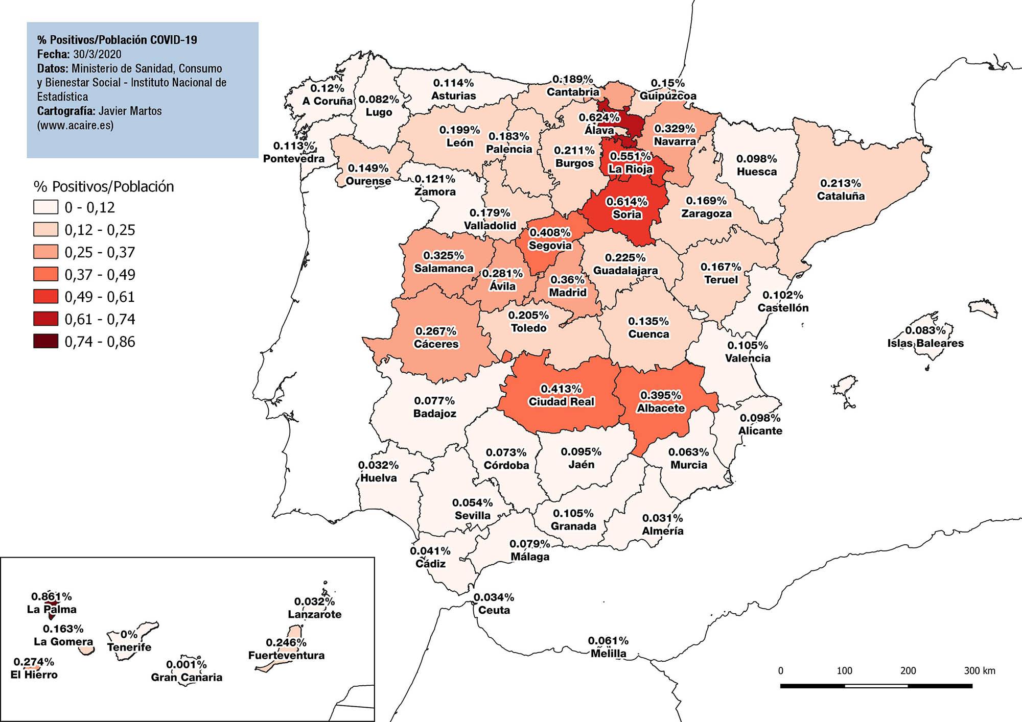 Datos espaciales asociados al Covid 19 en España