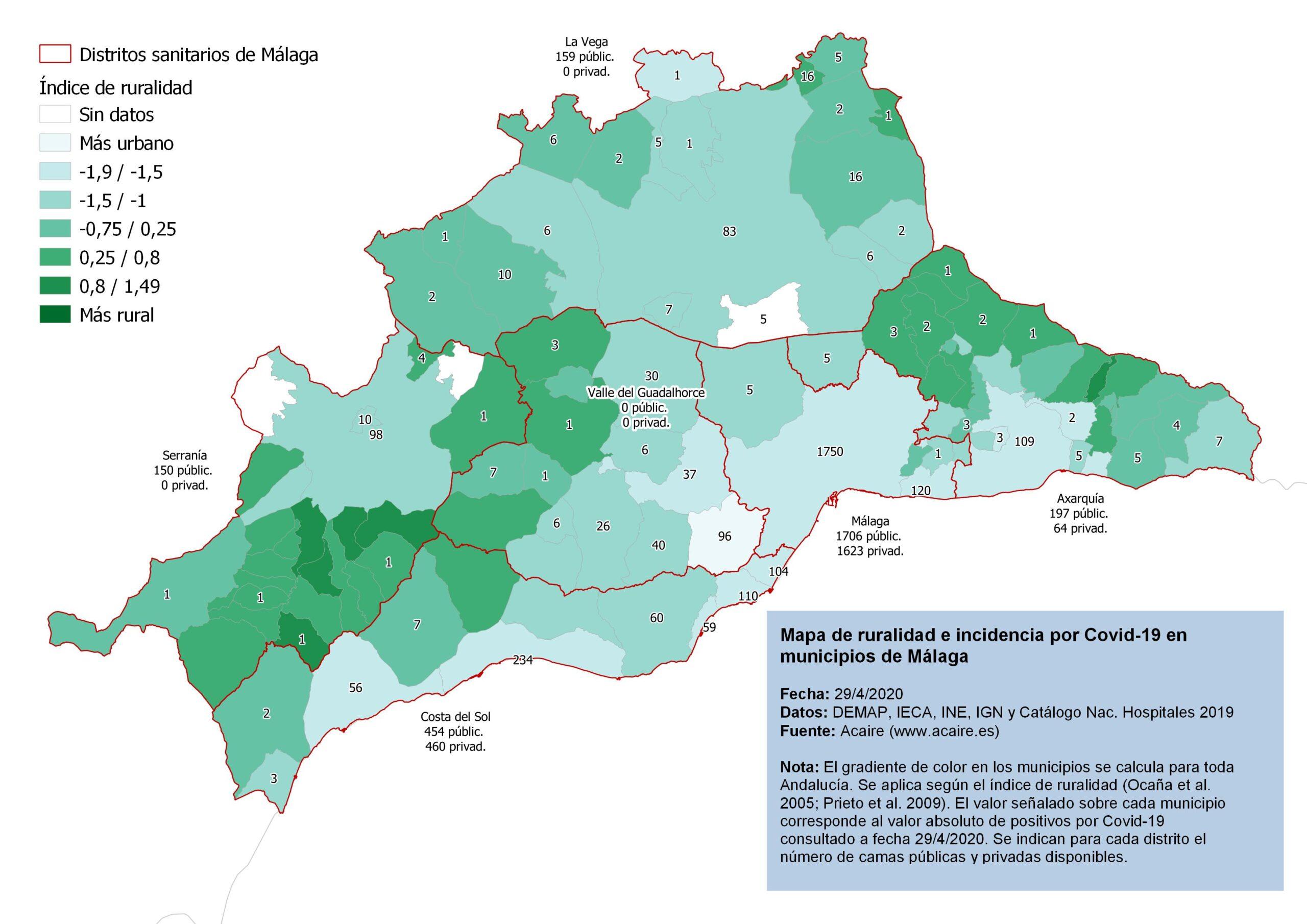 Mapa de ruralidad de Málaga y número de positivos