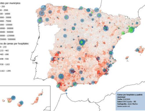 Covid-19 por distritos sanitarios, mapa de padrón municipal y hospitales con datos de 2019