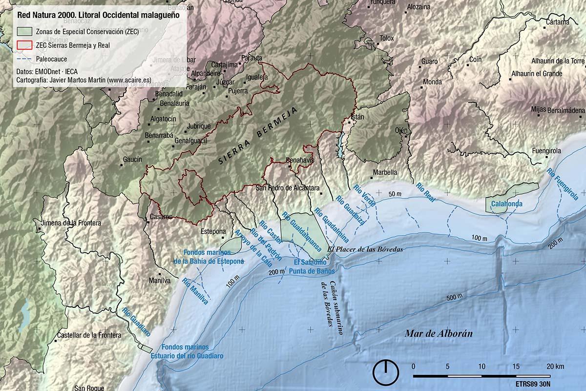 Red Natura 2000 en el litoral occidental malagueño