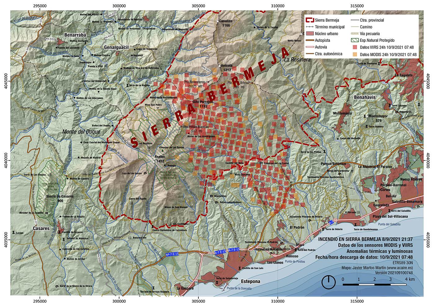 Incendio de Sierra Bermeja. Estimación del 10/9/2021