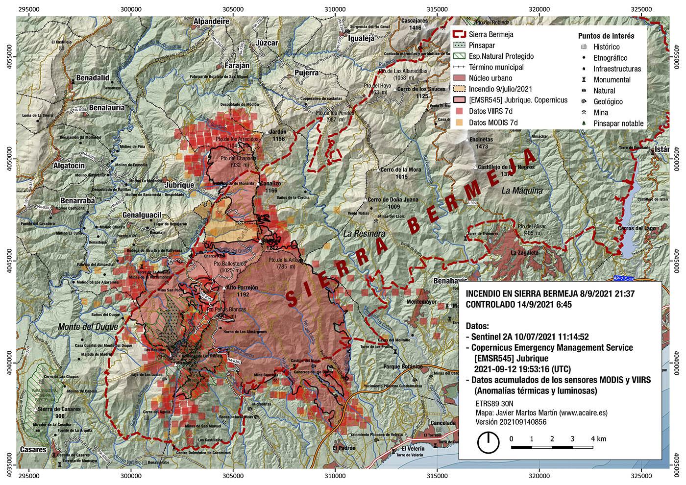 Incendio de Sierra Bermeja. Estimación del 14/9/2021