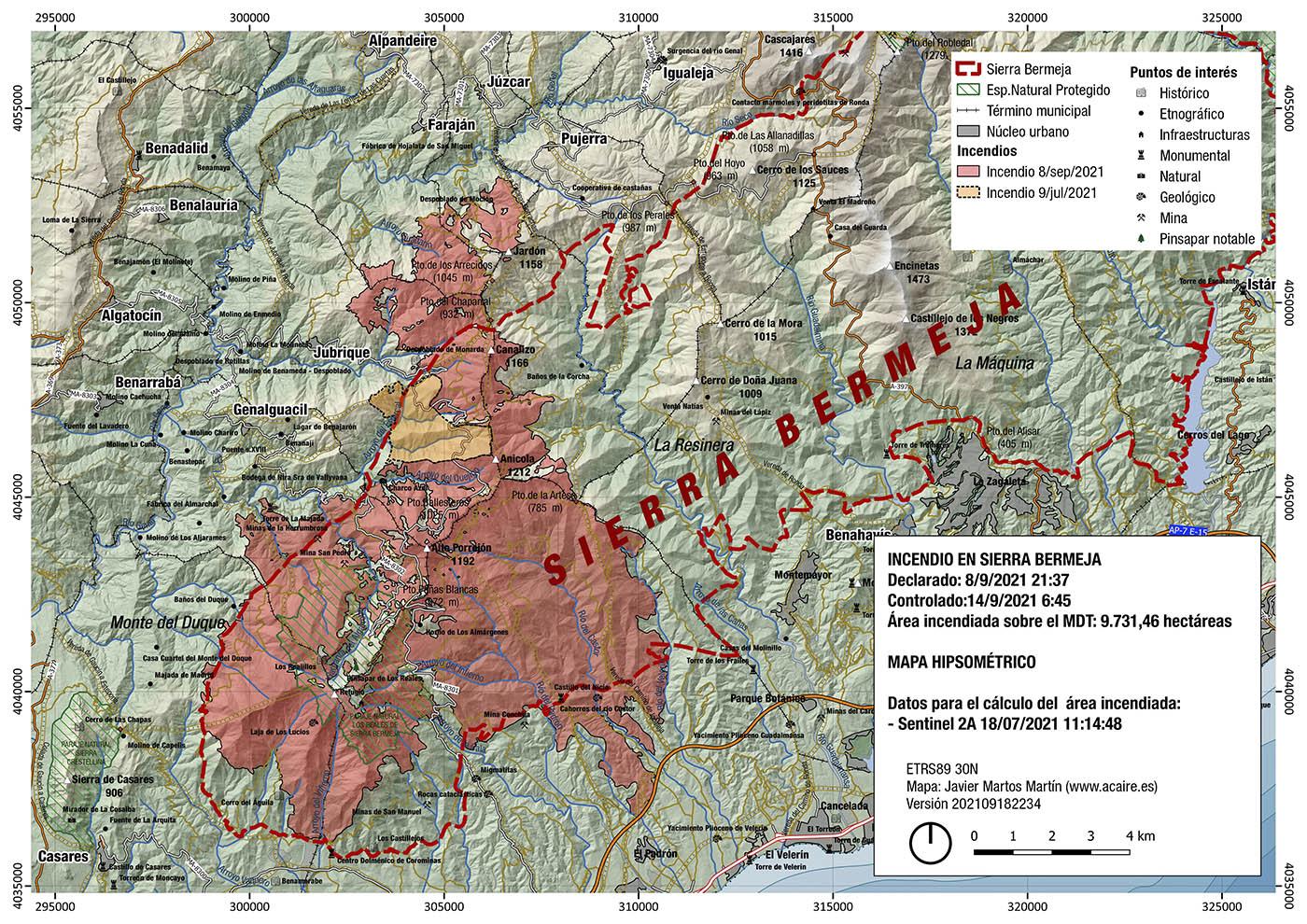 Incendio de Sierra Bermeja. Estimación del 18/9/2021