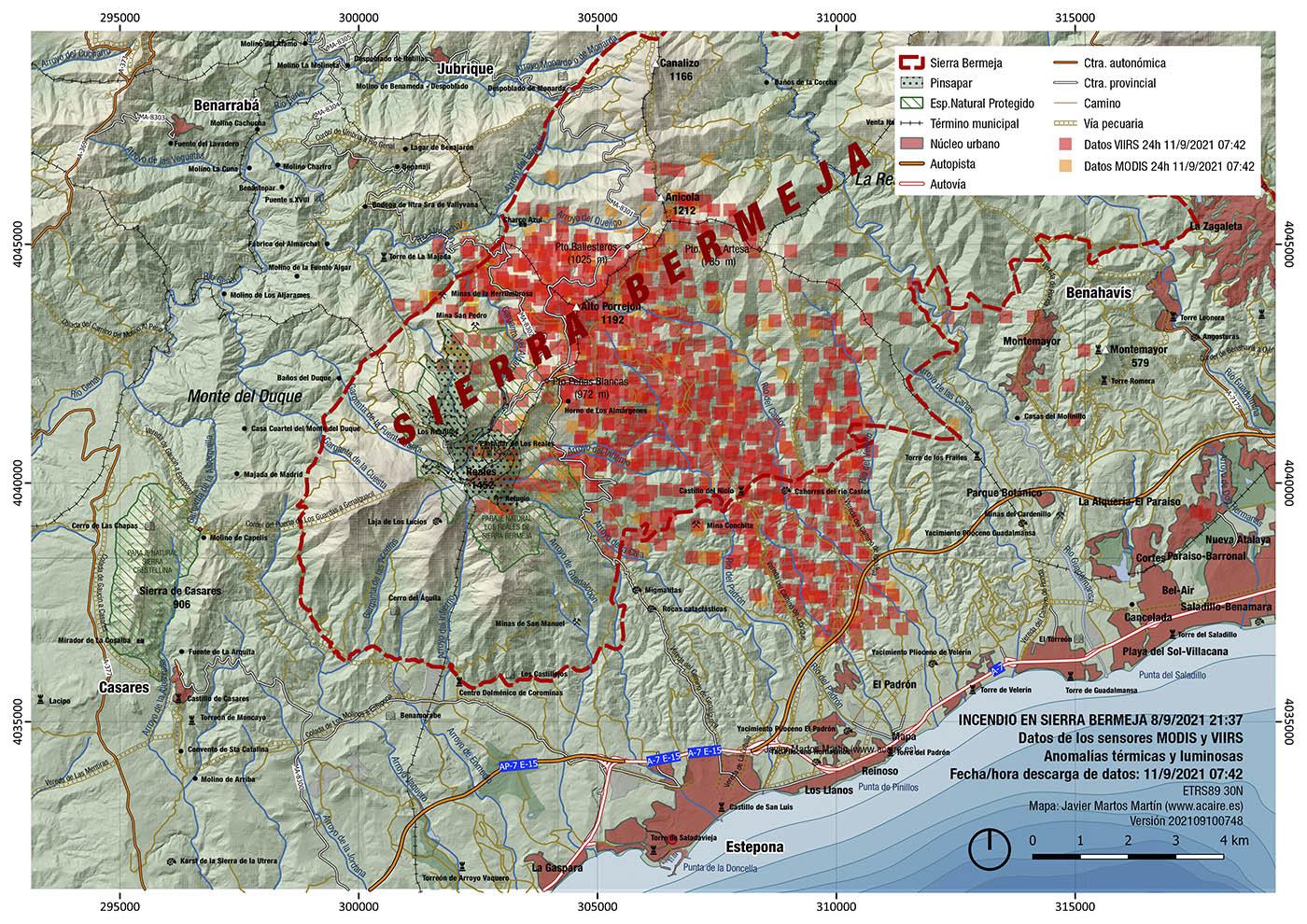 Incendio de Sierra Bermeja. Estimación del 11/9/2021