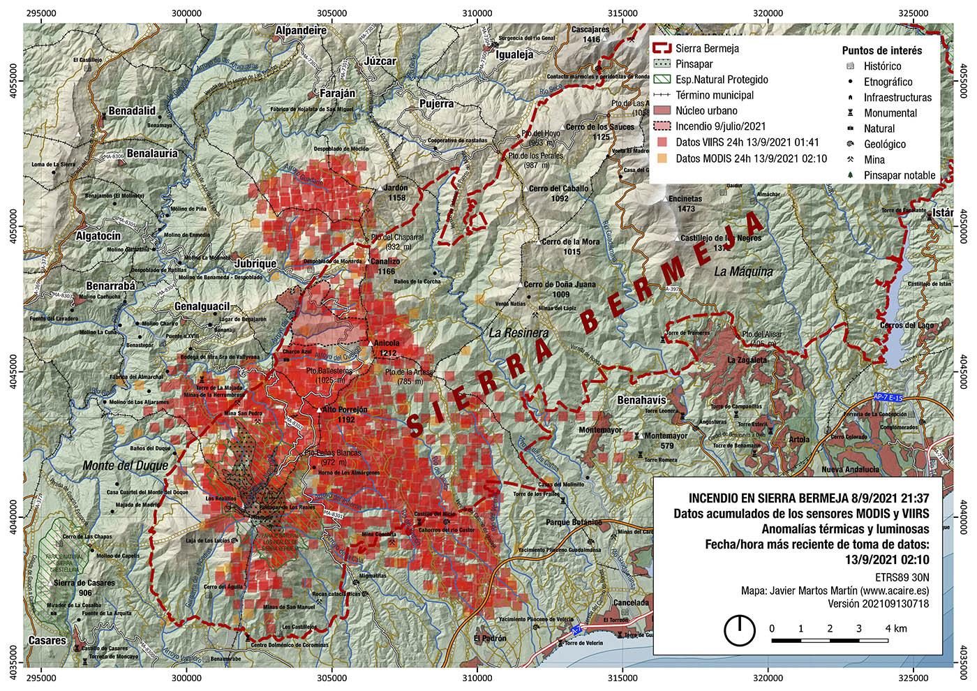 Incendio de Sierra Bermeja. Estimación del 13/9/2021