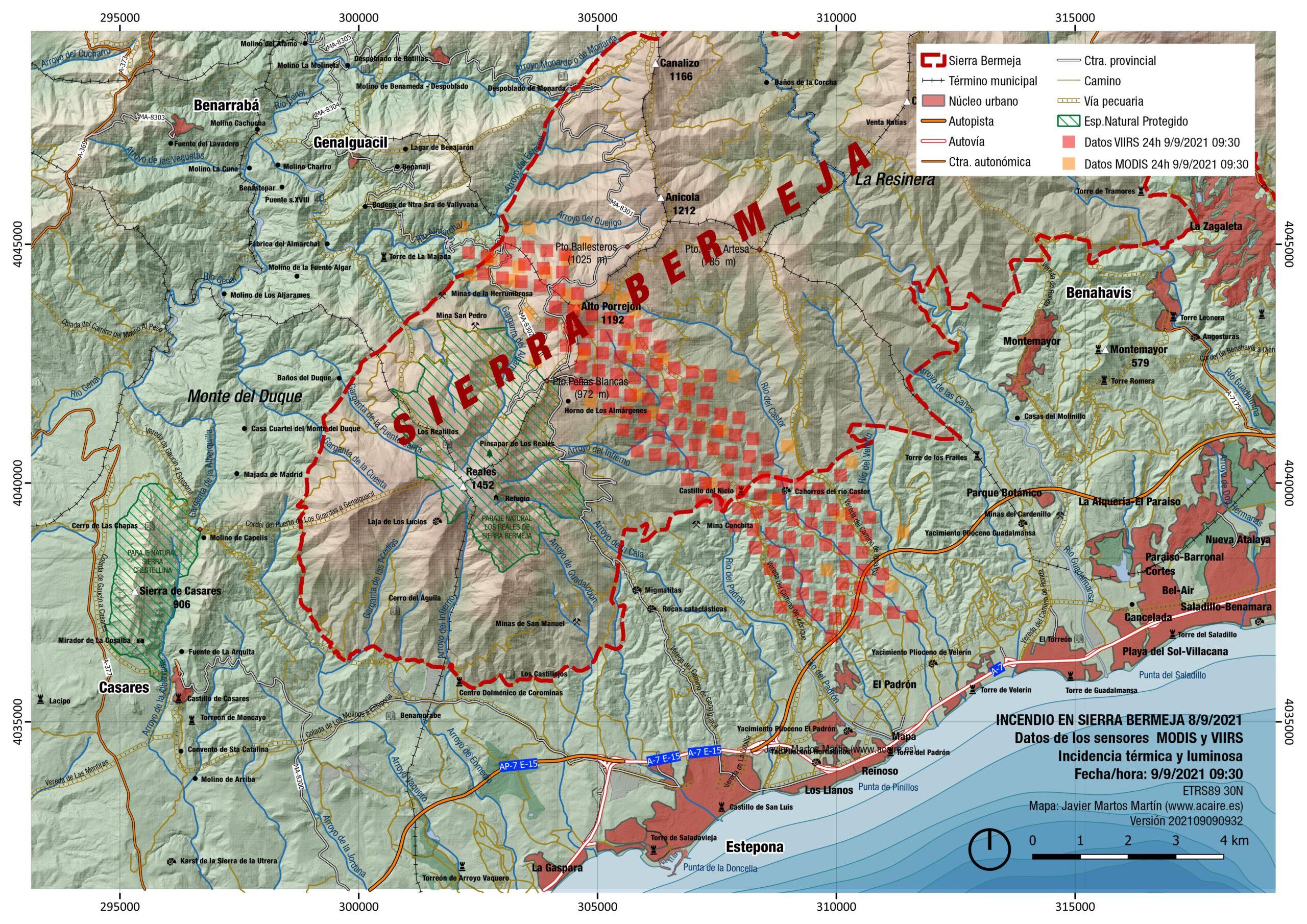 Incendio de Sierra Bermeja. Estimación del 9/9/2021